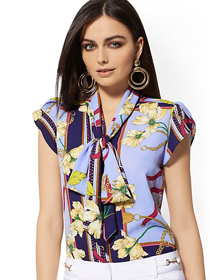 25e1eae5be9 Print Tulip-Sleeve Bow Blouse - 7th Avenue - New York   Company ...
