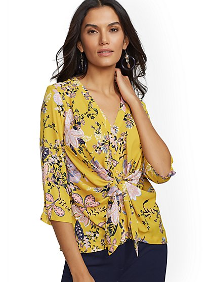 Print Twist-Front Blouse - 7th Avenue - New York & Company