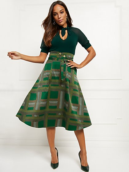 Printed Belted Full Skirt - 7th Avenue - New York & Company