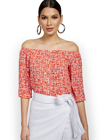 Printed Off-the-Shoulder Tunic Blouse - New York & Company