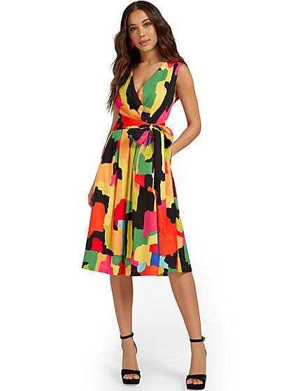 Printed V-Neck Side-Tie Dress - New York & Company