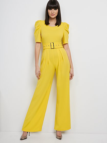 Puff-Sleeve Belted Jumpsuit - Magic Crepe® - New York & Company