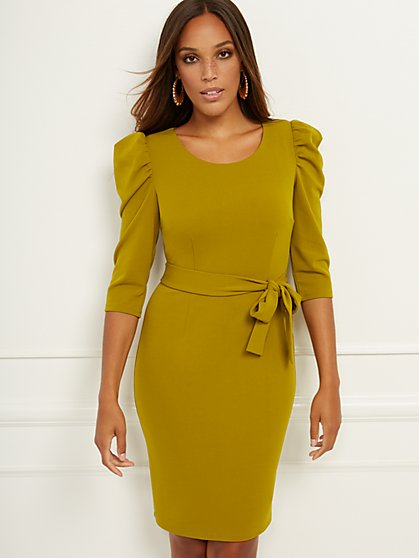 Puff-Sleeve Belted Sheath Dress - Magic Crepe® - New York & Company