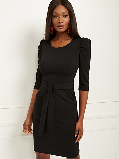 Puff-Sleeve Belted Sheath Dress - Magic Crepe - New York & Company