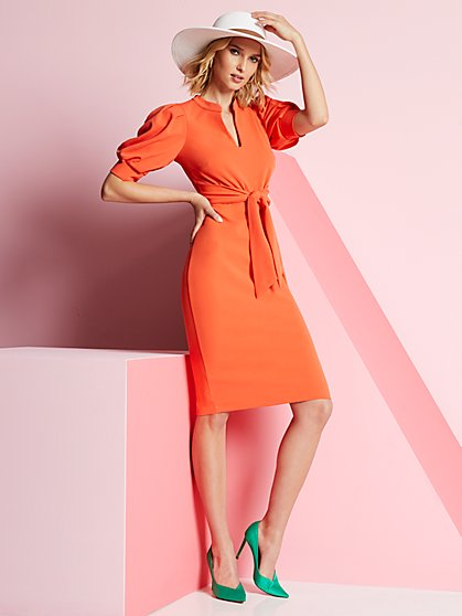 Puff-Sleeve Belted Sheath Dress - New York & Company