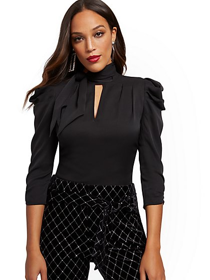 Puff-Sleeve Bow Blouse - 7th Avenue - New York & Company
