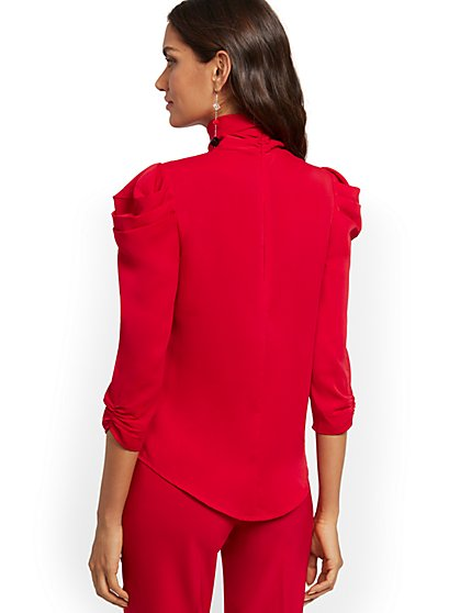 Puff-Sleeve Bow Blouse - 7th Avenue - New York & Company