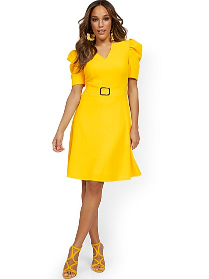 Puff-Sleeve Buckle Flare Dress - Magic Crepe® - New York & Company