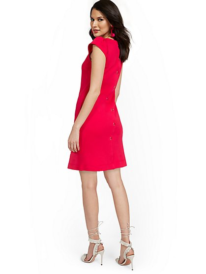 Puff-Sleeve Button-Back Shift Dress - City Knits - New York & Company