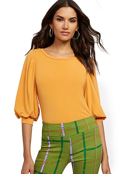 Puff-Sleeve Button-Back Top - 7th Avenue - New York & Company