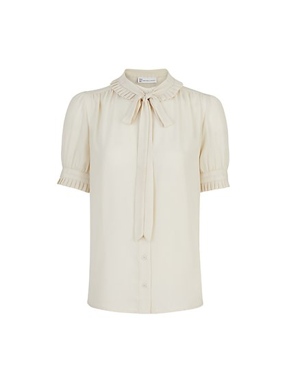 Puff-Sleeve Button-Front Bow-Neck Blouse - The NY&C Legacy Collection - New York & Company