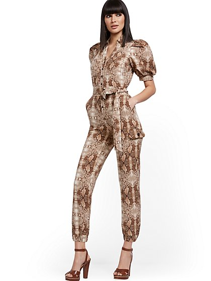 Puff-Sleeve Cargo Jumpsuit - Snake Print - New York & Company