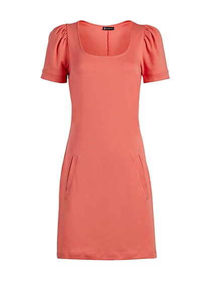 Puff-Sleeve Cotton Shift Dress - New York & Company
