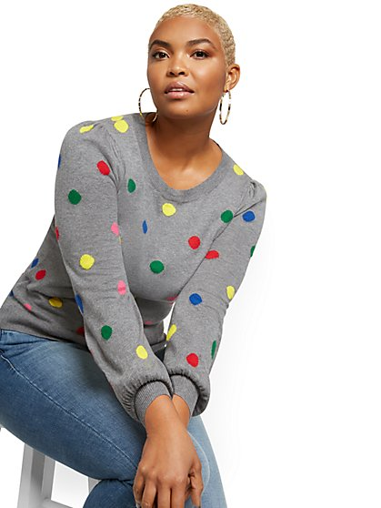 Puff-Sleeve Crewneck Sweater - Dot Print - New York & Company