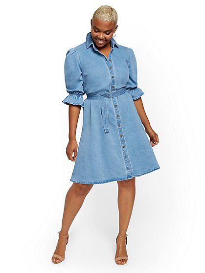 Puff-Sleeve Denim Shirtdress - New York & Company