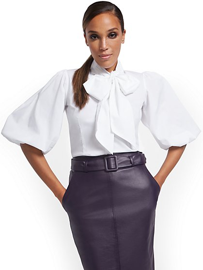 Puff-Sleeve Drama Bow Poplin Shirt - New York & Company