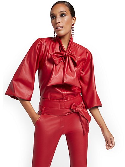 Puff-Sleeve Faux Leather Bow Top - New York & Company