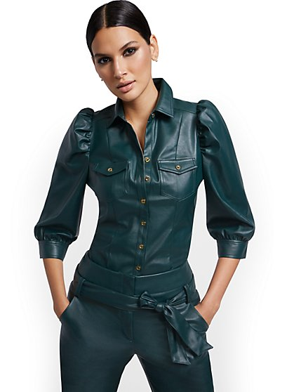 Puff-Sleeve Faux-Leather Top - New York & Company