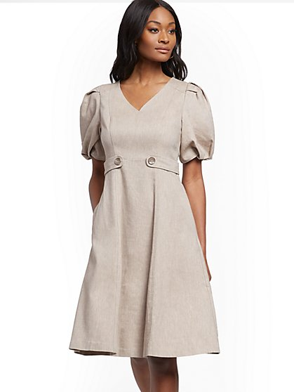 Puff-Sleeve Fit and Flare Dress - New York & Company