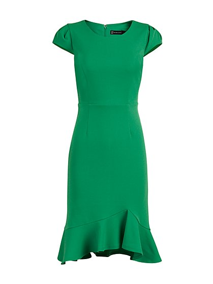 Puff-Sleeve Flounced Sheath Dress - Magic Crepe® - New York & Company