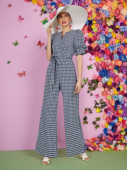 Puff-Sleeve Gingham Jumpsuit - New York & Company