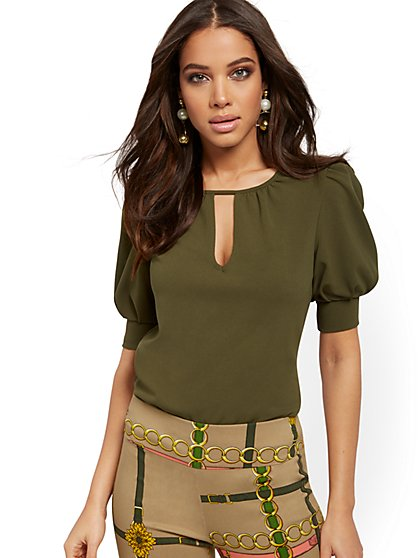Puff-Sleeve Keyhole Top - 7th Avenue - New York & Company