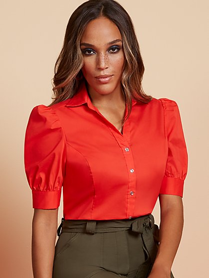 Puff-Sleeve Madison Stretch Shirt - No Gap - 7th Avenue - New York & Company