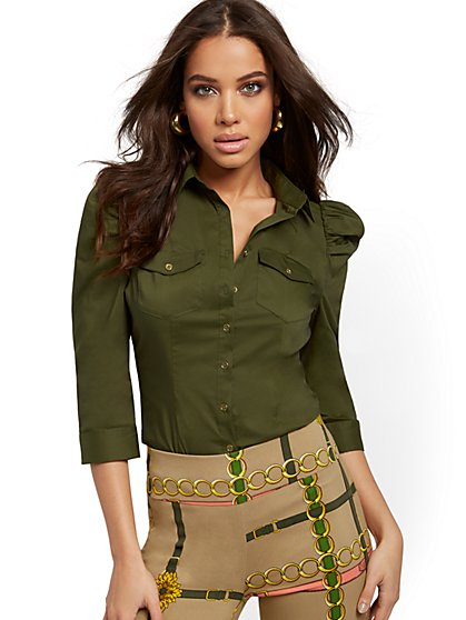 Puff-Sleeve Madison Stretch Shirt - Secret Snap - 7th Avenue - New York & Company