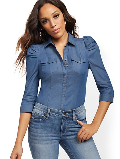 Puff-Sleeve Madison Stretch Shirt - Secret Snap - New York & Company