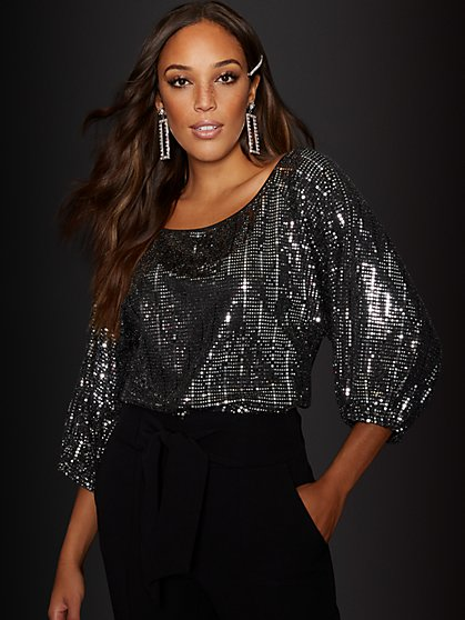 Puff-Sleeve Mirror Top - New York & Company