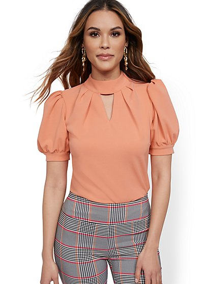 Puff-Sleeve Mock-Neck Top - 7th Avenue - New York & Company