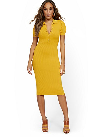 Puff-Sleeve Polo Midi Sweater Dress - New York & Company