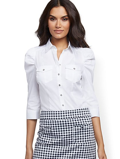 Puff-Sleeve Poplin Shirt - 7th Avenue - New York & Company