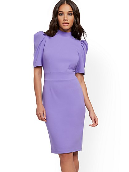 Puff-Sleeve Sheath Dress - Magic Crepe® - New York & Company