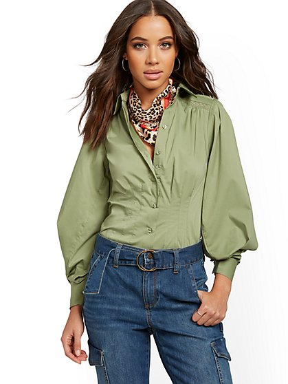 Puff-Sleeve Shirt - Lily & Cali - New York & Company