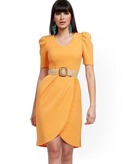 Puff-Sleeve Tulip-Hem Sheath Dress - Magic Crepe® - New York & Company