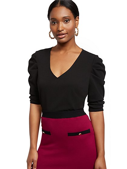 Puff-Sleeve V-Neck Top - New York & Company