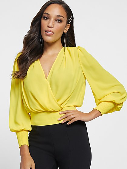 Puff-Sleeve Wrap Blouse - Gabrielle Union Collection - New York & Company