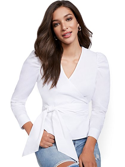 Puff-Sleeve Wrap Top - New York & Company