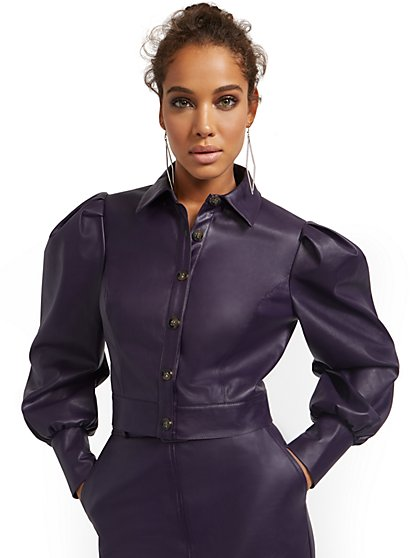 Puffed Long-Sleeve Faux-Leather Top - New York & Company