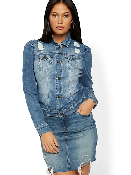 Puffed-Sleeve Denim Jacket - Festive Blue - New York & Company