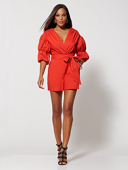 Puffed-Sleeve Romper - Gabrielle Union Collection - New York & Company