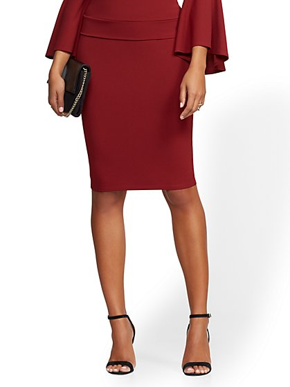 Pull-On Scuba Crepe Pencil Skirt - New York & Company