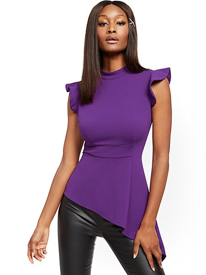 Purple Asymmetrical-Hem Top - 7th Avenue - New York & Company