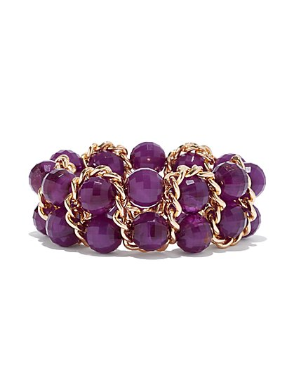 Purple Beaded Stretch Bracelet - New York & Company