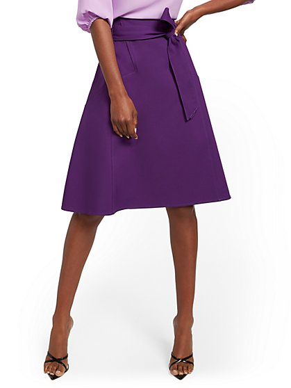 Purple Belted Full Skirt - 7th Avenue - New York & Company