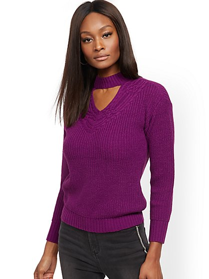 Purple Choker Sweater - New York & Company