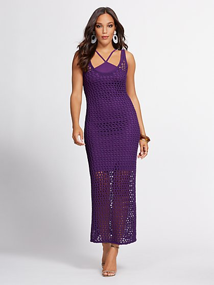 Purple Crochet Tank Dress - Gabrielle Union Collection - New York & Company