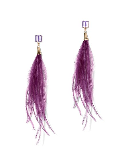 Purple Feather Drop Earring - New York & Company