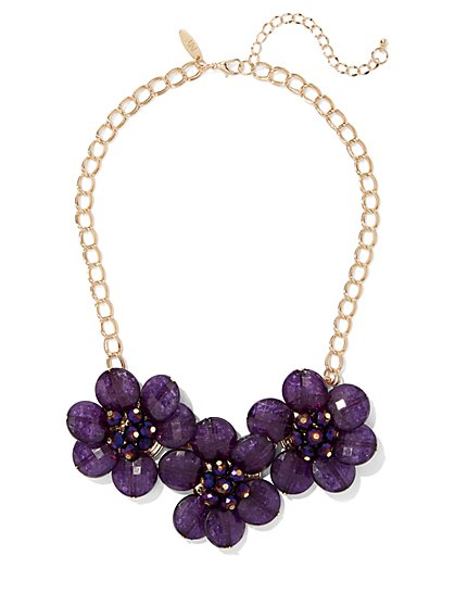 Purple Floral Statement Necklace - New York & Company
